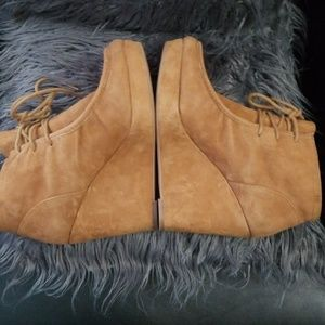 Camel suede lace-up booties